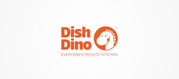 DishDino.com食品订购平台恐龙标志设计-上海标志设计公司