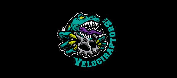 VelociRaptors山地自行车店恐龙标志设计-上海标志设计公司