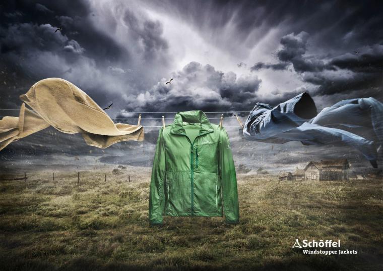 """德国Schöffel户外服饰服装创意平面广告""""挡风玻璃""""篇-上海设计公司"""