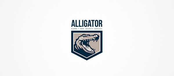 鳄鱼警报与家庭安全标志设计-上海标志设计公司
