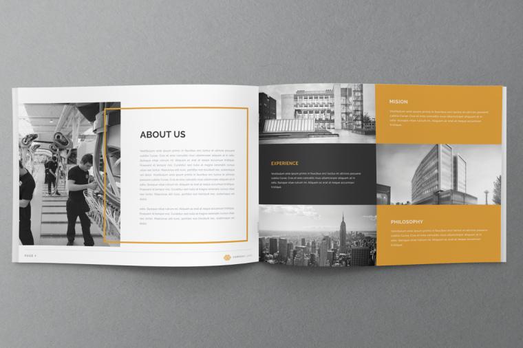 黄色线框风格年报宣传册设计-上海画册设计公司