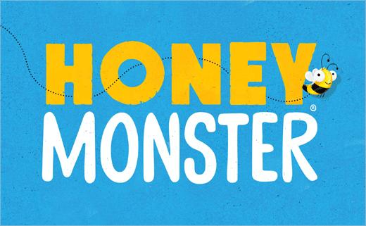 "Honey Monster ""蜜蜂怪物图形""早餐麦片新包装设计品牌设计"