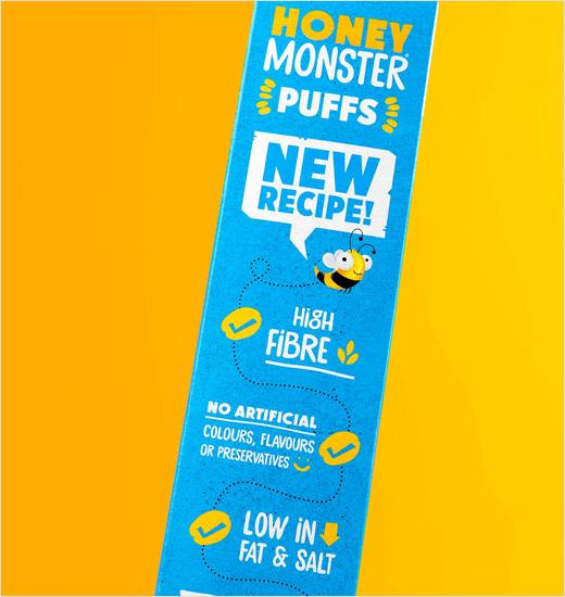 Honey Monster 蜜蜂怪物图形早餐麦片新包装设计品牌设计