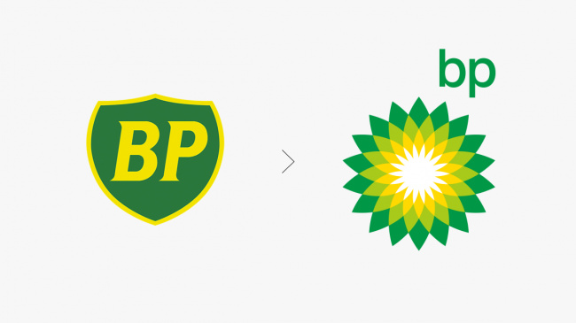 2008年,向日葵样式的BP标志(右)取代了老盾牌logo(左)-上海品牌logo设计公司