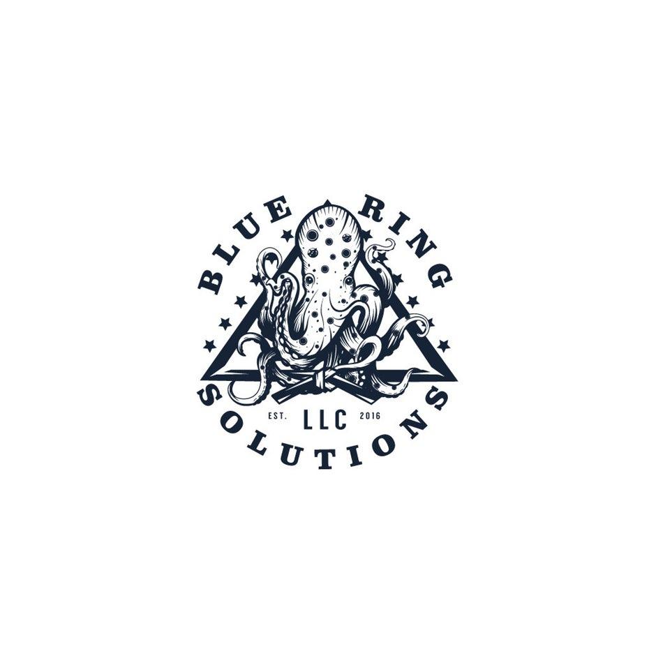 有插图的和异想天开的三角形logo设计--上海logo设计公司