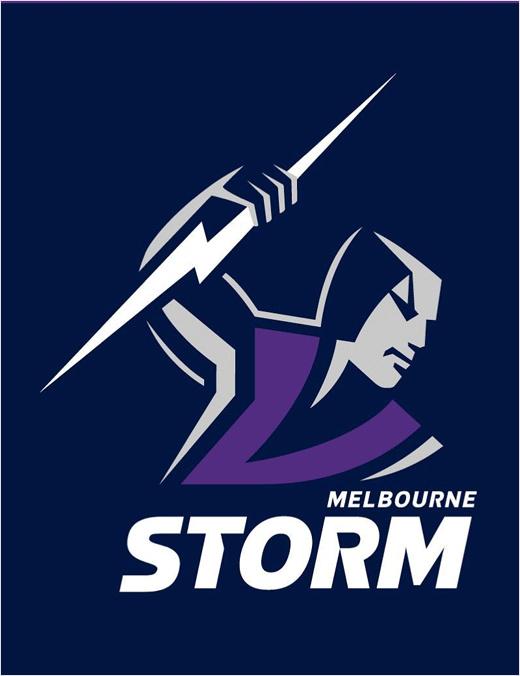 澳大利墨尔本风暴亚橄榄球队logo设计,一个手持闪电的风暴男人