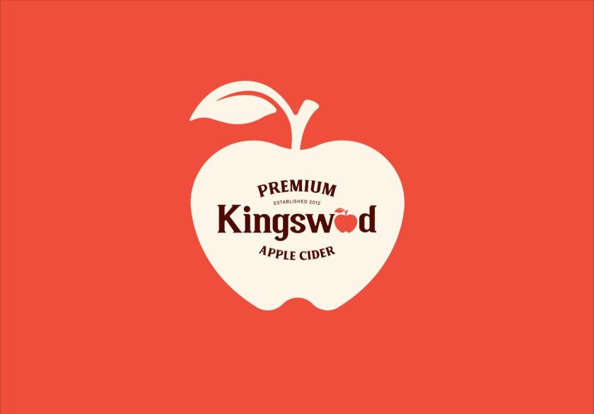 Kingswood苹果酒包装标签设计-苹果符号中的徽标