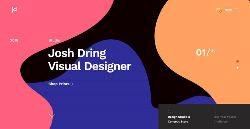网页设计技巧-用液态色块拼贴来传达时尚感