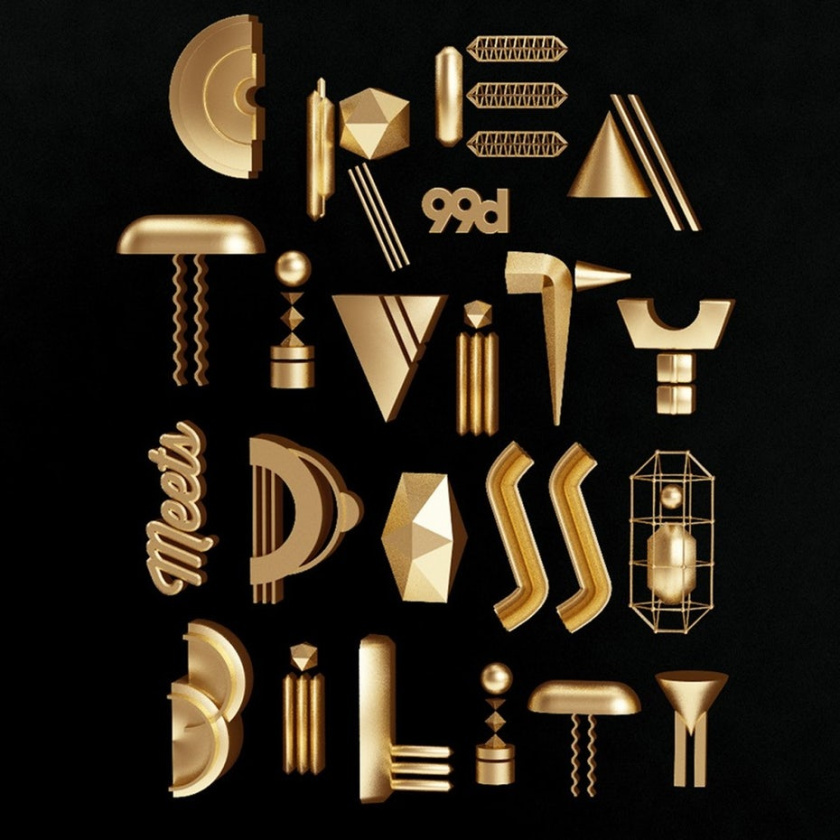 3D设计-创意和有趣的金属海报设计,