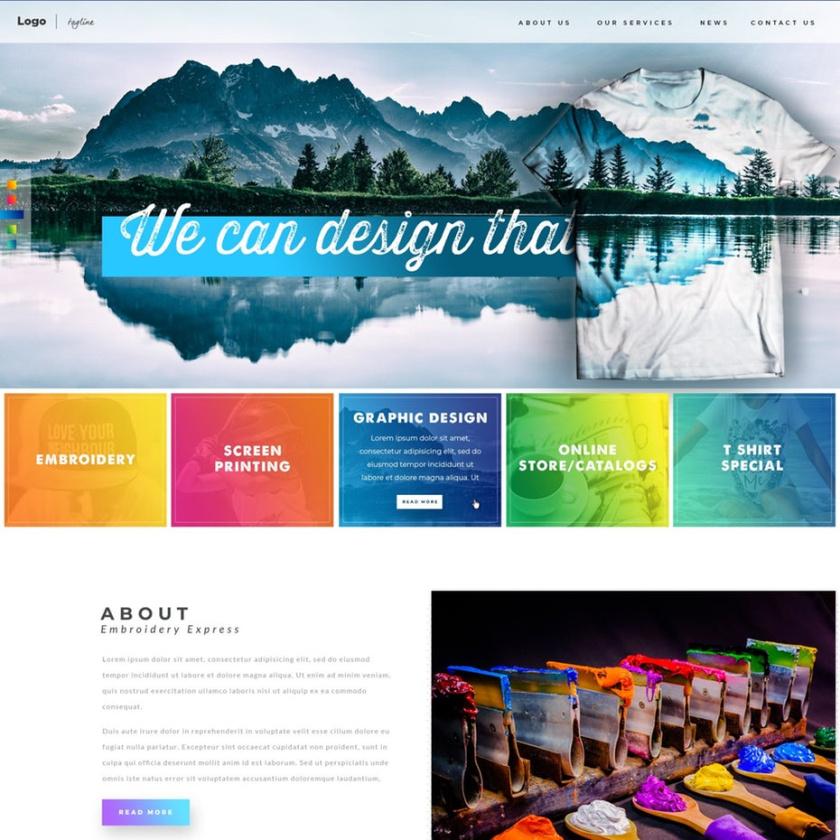 双色调和渐变色设计-印刷服装公司网站设计