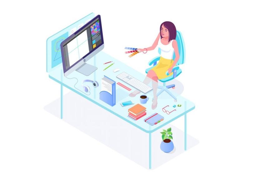 等距设计-坐在有计算机的书桌的人