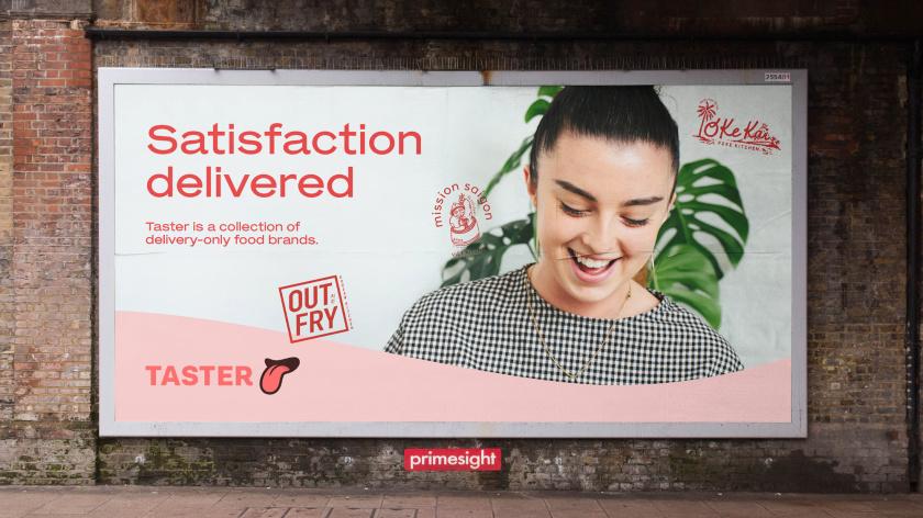 Taster外卖餐饮品牌logo设计与品牌vi形象设计,一个大胆热情的舌头图案