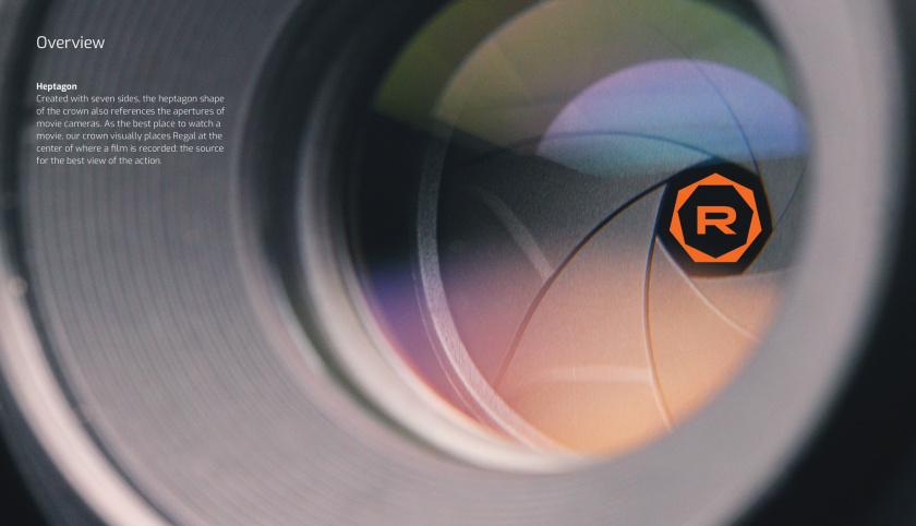 Regal富豪电影剧院logo设计,一个环绕的七变形+字母R