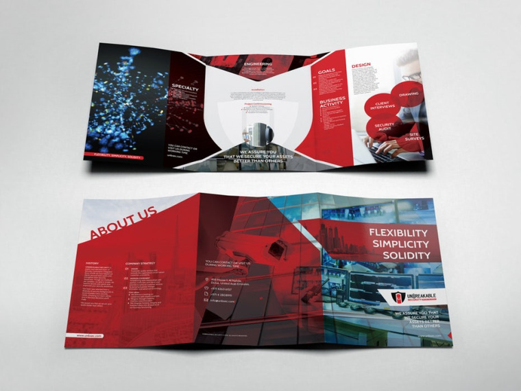 aseenArt经典三折折页设计为牢不可破的安全公司宣传册