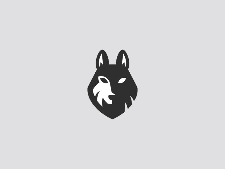 简单的黑白狼logo设计-上海logo设计公司灵感