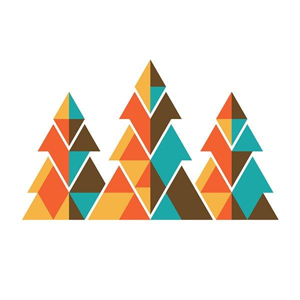作为建筑构造的几何形状logo设计-树形建筑logo