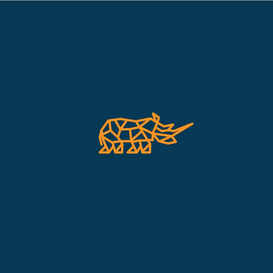 简单的几何形状的logo设计-犀牛动物logo
