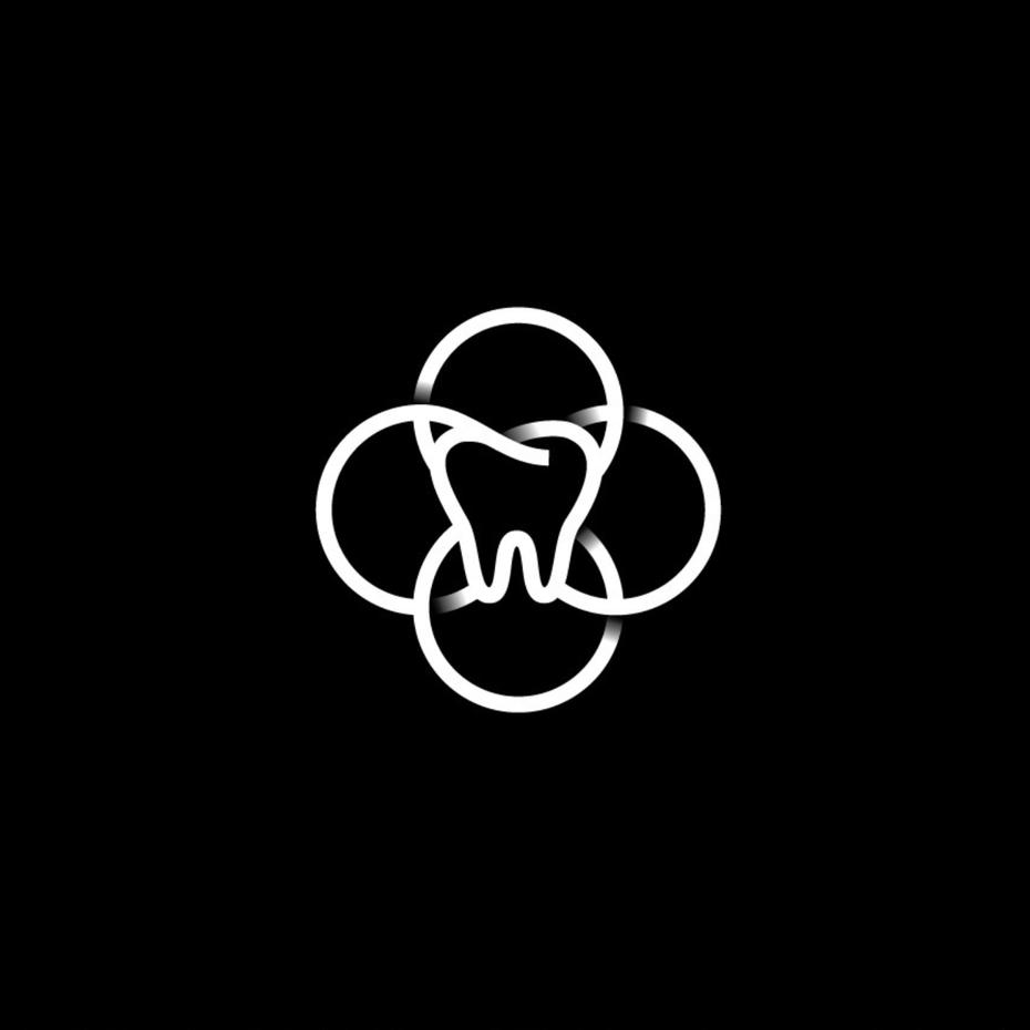 简单的几何形状的logo设计-齿的曲线和纹理logo