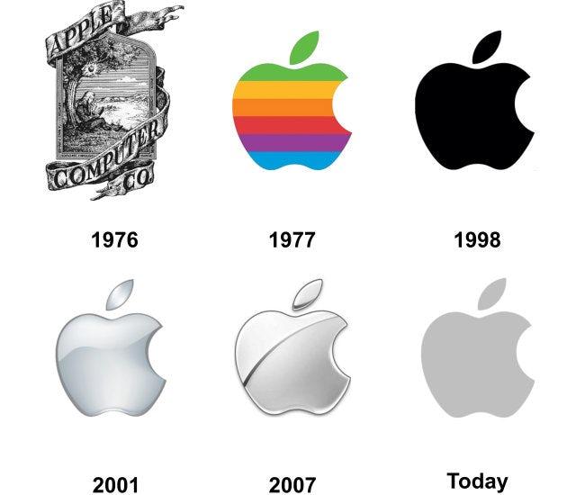 创造现代时尚和高科技印象的几何logo-苹果logo演变
