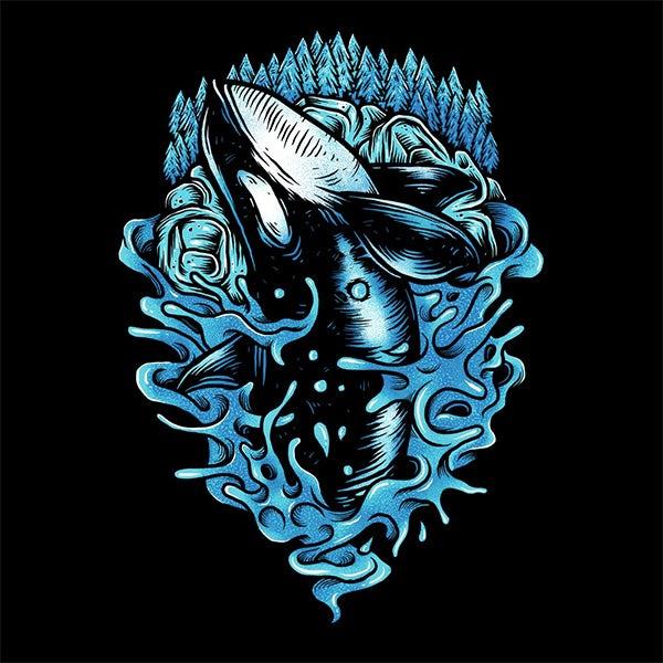 逆戟鲸鲸鱼T恤插画设计--上海品牌设计公司
