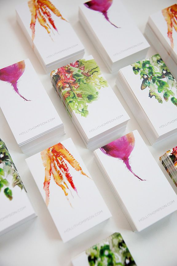 Holli Thompson水彩素食者品牌vi形象设计-名片