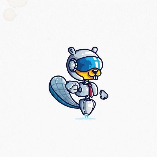 自信的酷标志设计-快乐去幸运的海狸艺术宇航员的标志设计