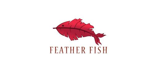 红色标志设计灵感品牌羽毛鱼