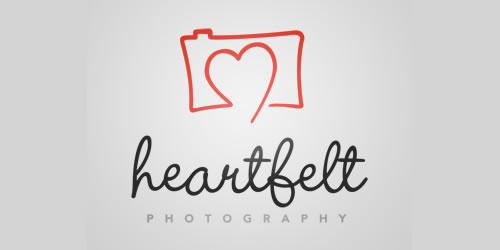 红色标志设计灵感品牌Heartfelt Photography