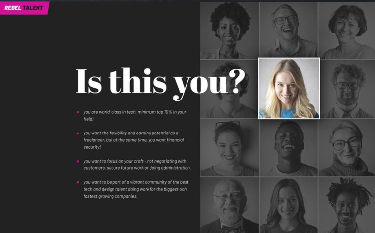 网页设计与不同面孔的网格