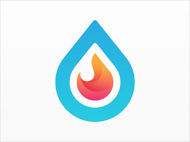 水 - & - 消防Onbre-LOGO设计