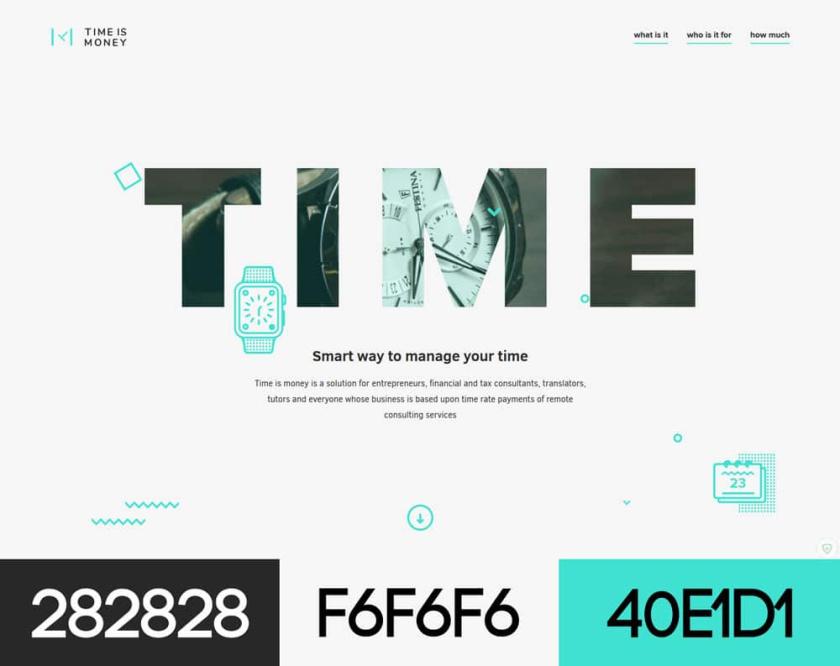 具有配色方案的现代网页设计-时间就是金钱