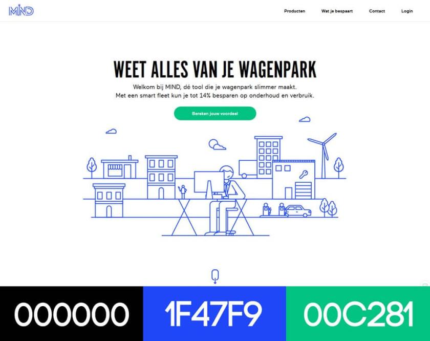 具有配色方案的现代网页设计-MIND Mobility