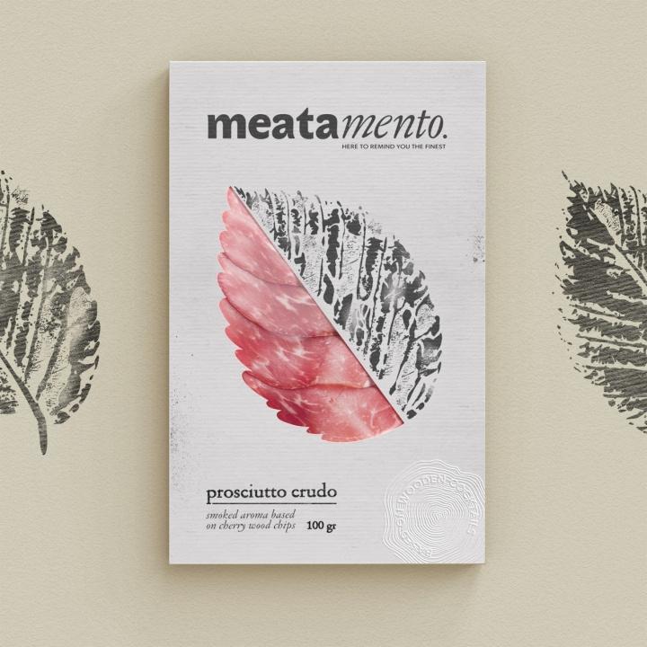Meatamento熏肉包装设计,采用叶子造型的开窗纸盒设计