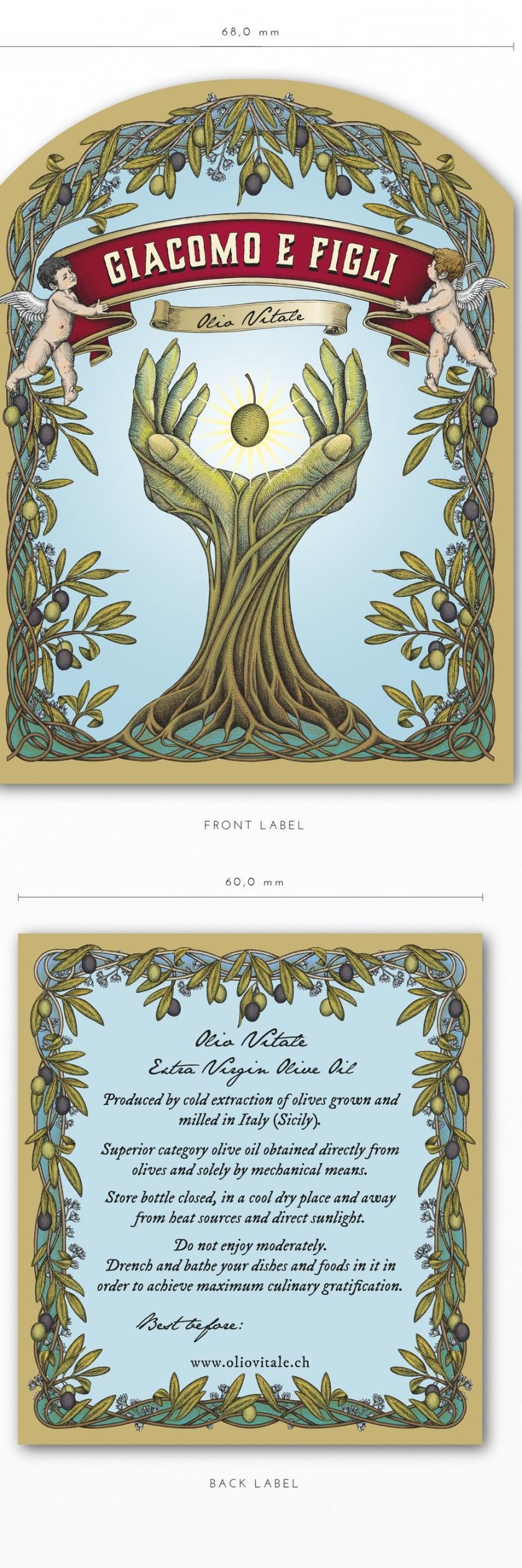 平面设计中的超现实主义-超现实包装设计-根手天使和橄榄,Yokaon的橄榄油标签