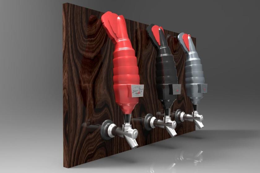 平面设计中的超现实主义-超现实包装设计-龙虾啤酒水龙头设计