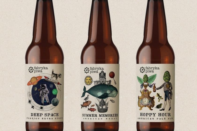 平面设计中的超现实主义-超现实包装设计-随机图像拼贴的啤酒标签