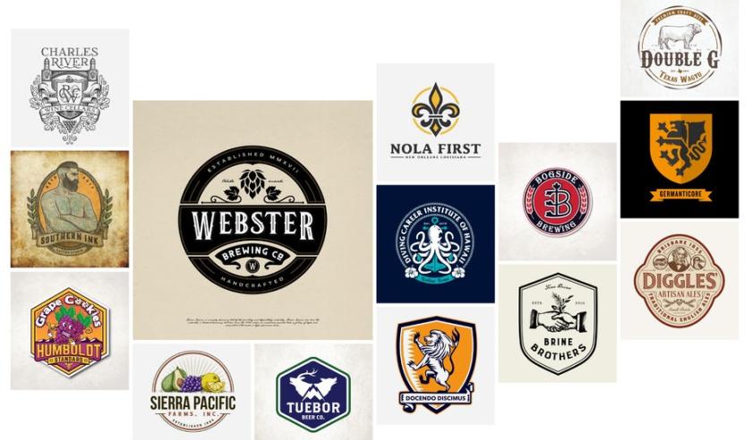 45个徽章徽标式logo设计-上海logo设计公司