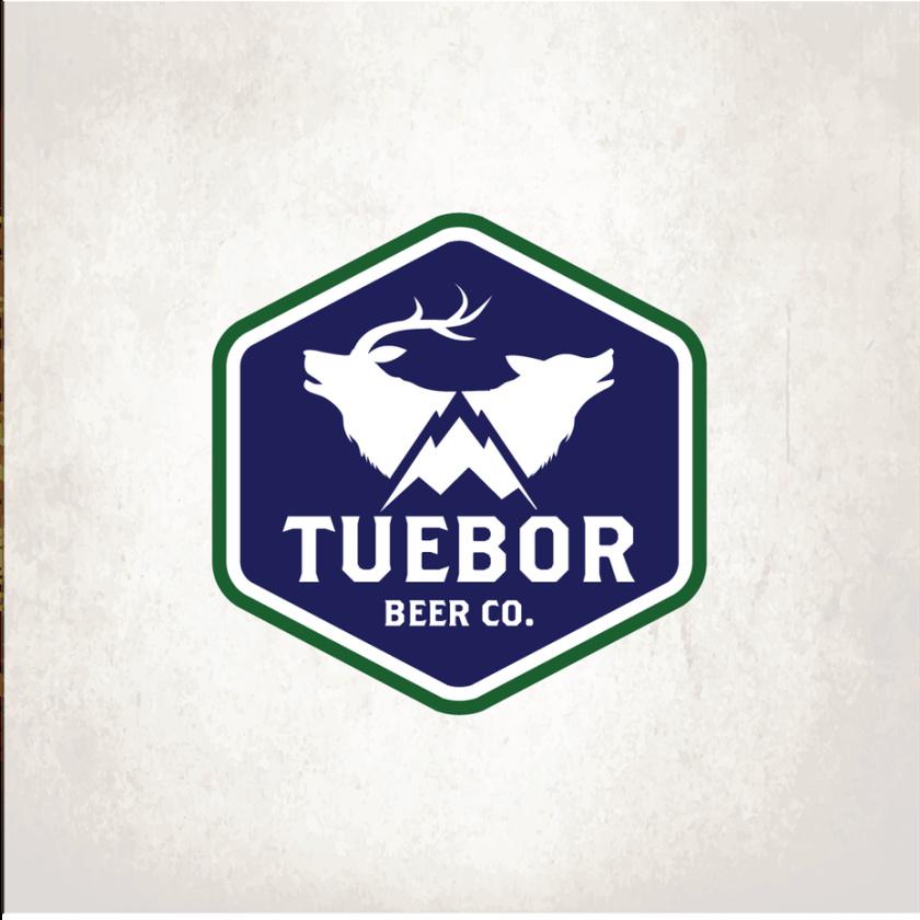 复古徽章徽标logo设计-一只狼和一只麋鹿在山上被一分为二的徽标logo