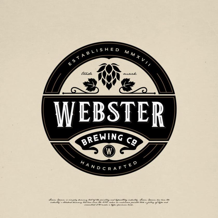 复古徽章徽标logo设计-Webster Brewing Co会徽logo