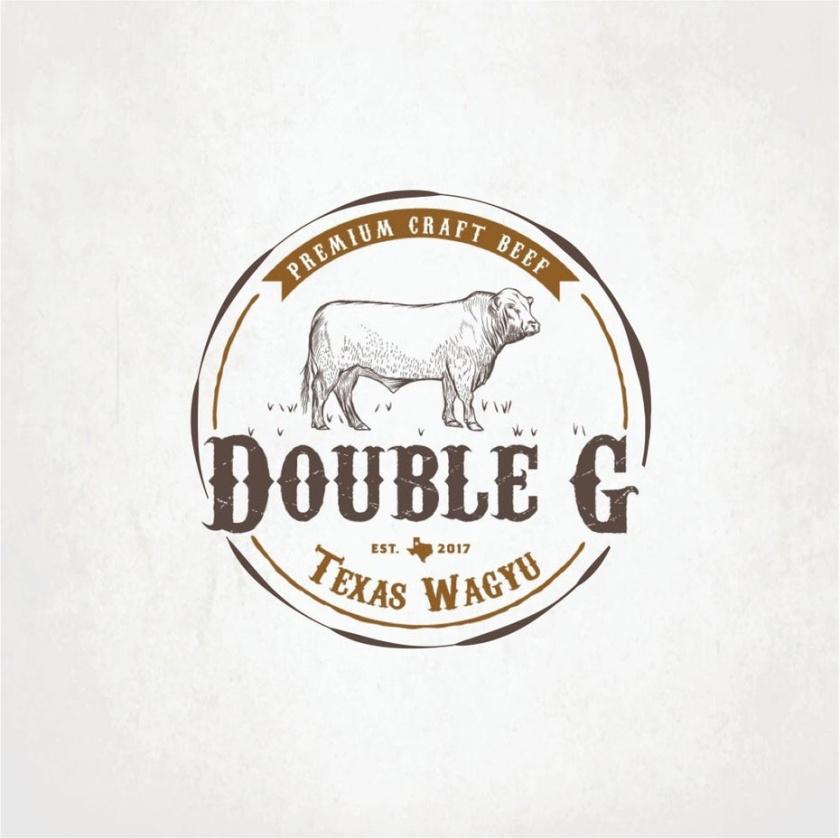 复古徽章徽标logo设计-牛在牧场上徽章徽标logo
