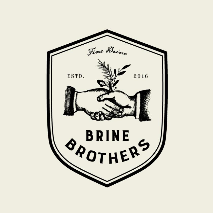 复古徽章徽标logo设计-握手Brine Brothers 徽标logo