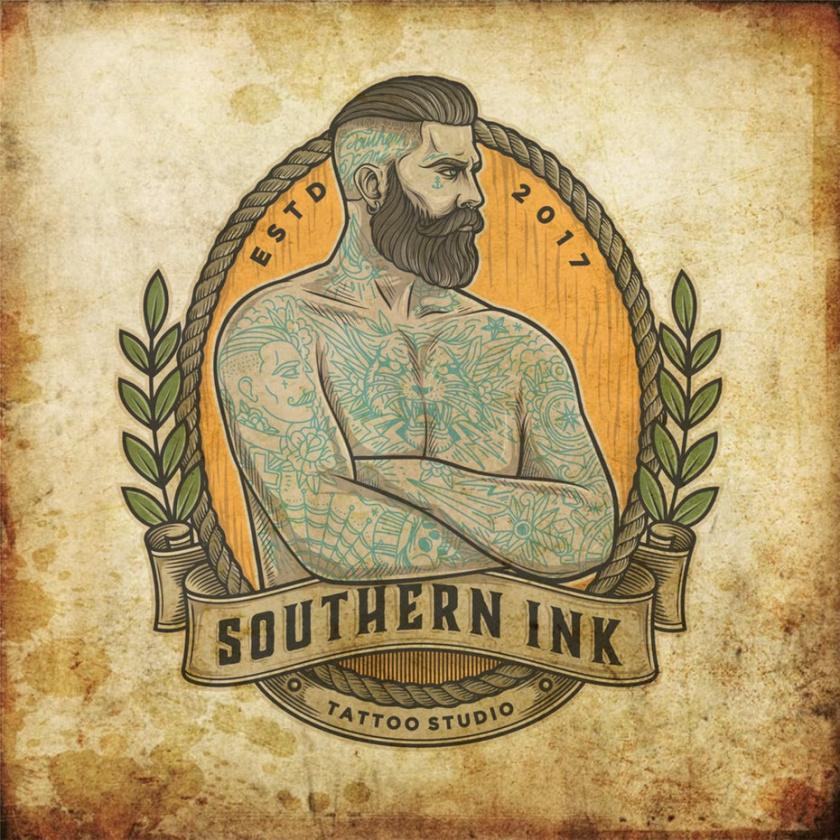 现代徽标logo设计-纹身的男子双臂交叉向右看徽标logo