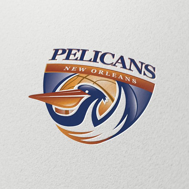 大胆的对比色会徽logo设计-新奥尔良鹈鹕徽标logo