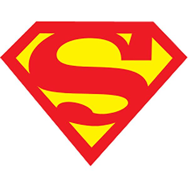 大胆的对比色会徽logo设计-超人标志