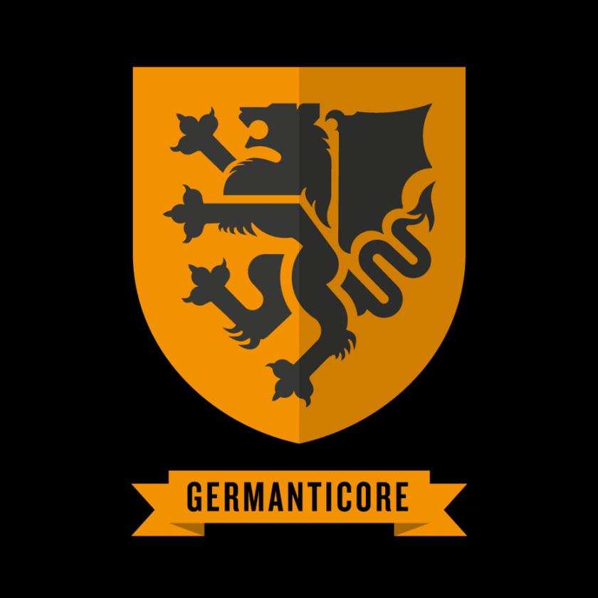 中世纪会徽徽标logo设计-固体背景上的manticore徽标logo