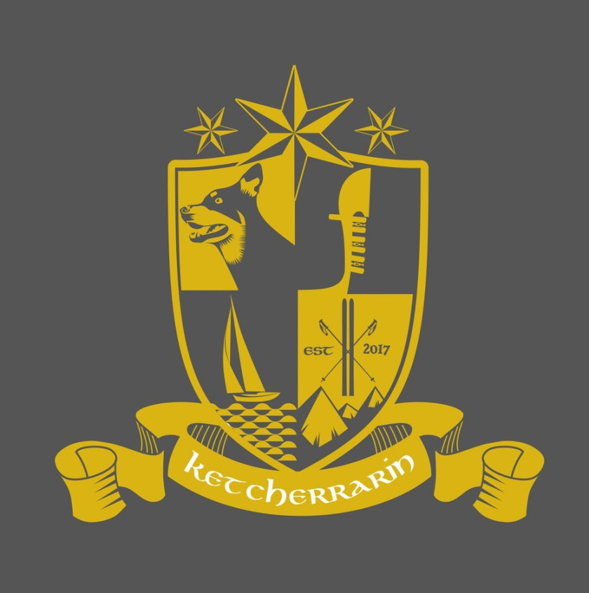中世纪会徽徽标logo设计-与狗,船和船舵的纹章图像