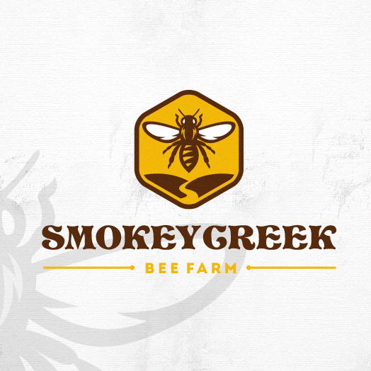 黄色产品标志logo设计-Smokey Creek养蜂场logo设计