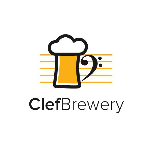黄色产品标志logo设计-ClefBrewery标志logo设计