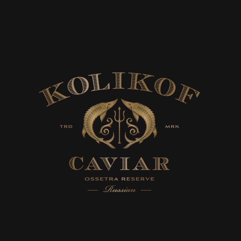 豪华黄金logo设计-Kolikof鱼子酱徽标logo设计