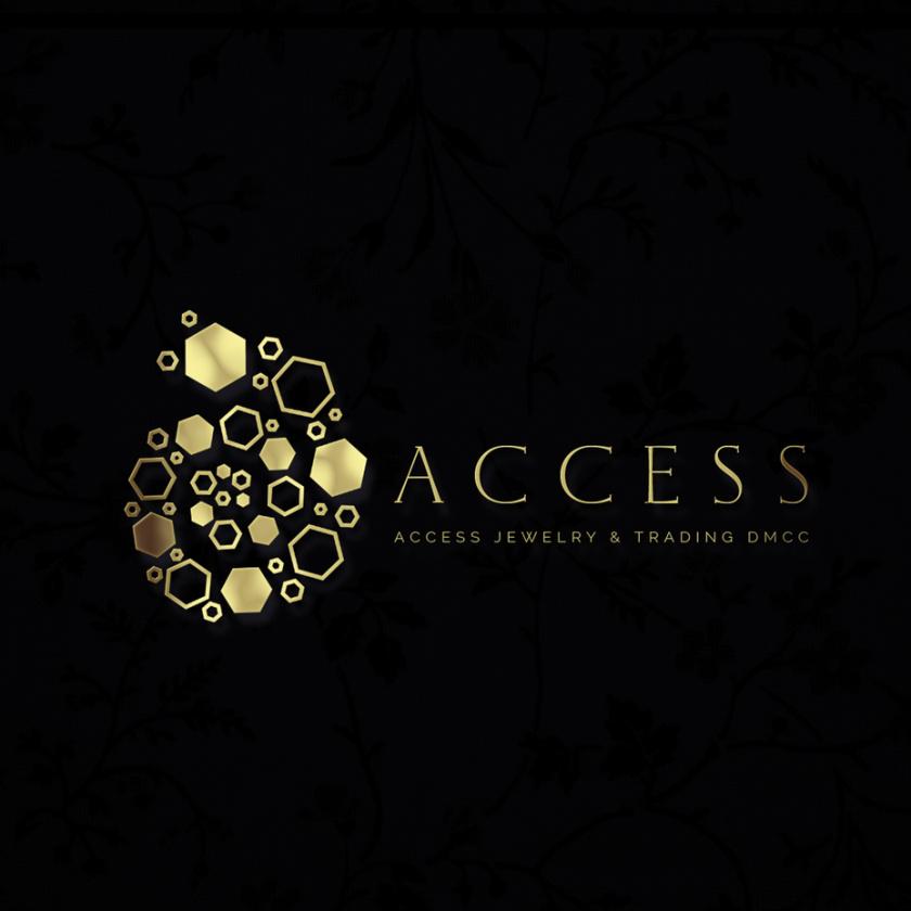 豪华黄金logo设计-访问珠宝的标志logo设计